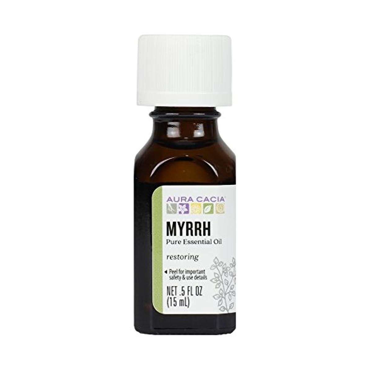 章バケツペネロペAura Cacia, 100% Pure Essential Oil, Myrrh, .5 fl oz (15 ml)
