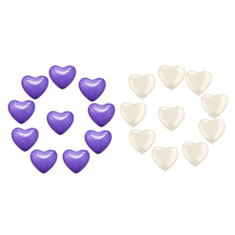 Kesoto 20× ラテックス ラブハート形 バルーン バレンタイン 誕生日パーティー 装飾 写真 小道具 背景 パープル+ホワイト 20個入り