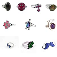 LH1028 Mixed Mood Rings Classic Temperature Change Color Mood Ring Lovers (Adjustable Size)