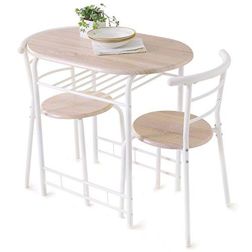 LOWYA (ロウヤ) ダイニングセット ダイニング 3点セット テーブルにチェアがすっぽり納まる コンパクトサイズ スチール脚 2人掛け 幅53cm ホワイト/オーク 一人暮らし おしゃれ