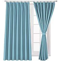 WONTEX 遮光カーテン 2枚組 断熱 防寒 目隠し UVカット ドレープカーテン スカイブルー 幅100cm×丈200cm 形態安定加工 リビングルーム