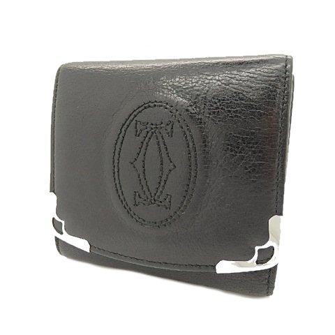 カルティエ マルチェロ 三つ折り財布 レザー ブラック シルバー L3000914 中古