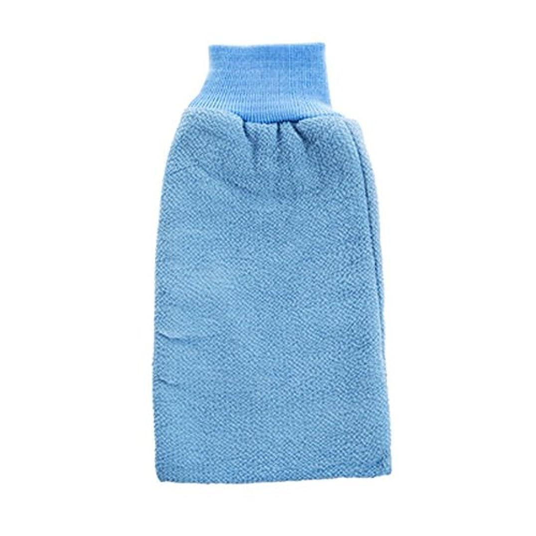 プレミア告白まぶしさボディエクスフォリエイティングミットバスブラシシャワーグローブバス手袋 - ブルー