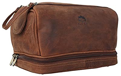 Handmade Buffalo Genuine Leather Toiletry Bag Dopp Kit Shaving and Grooming Kit for Travel ~ Gift for Men Women ~ Hanging Zippered Makeup Bathroom Cosmetic Pouch Case by Rustic Town