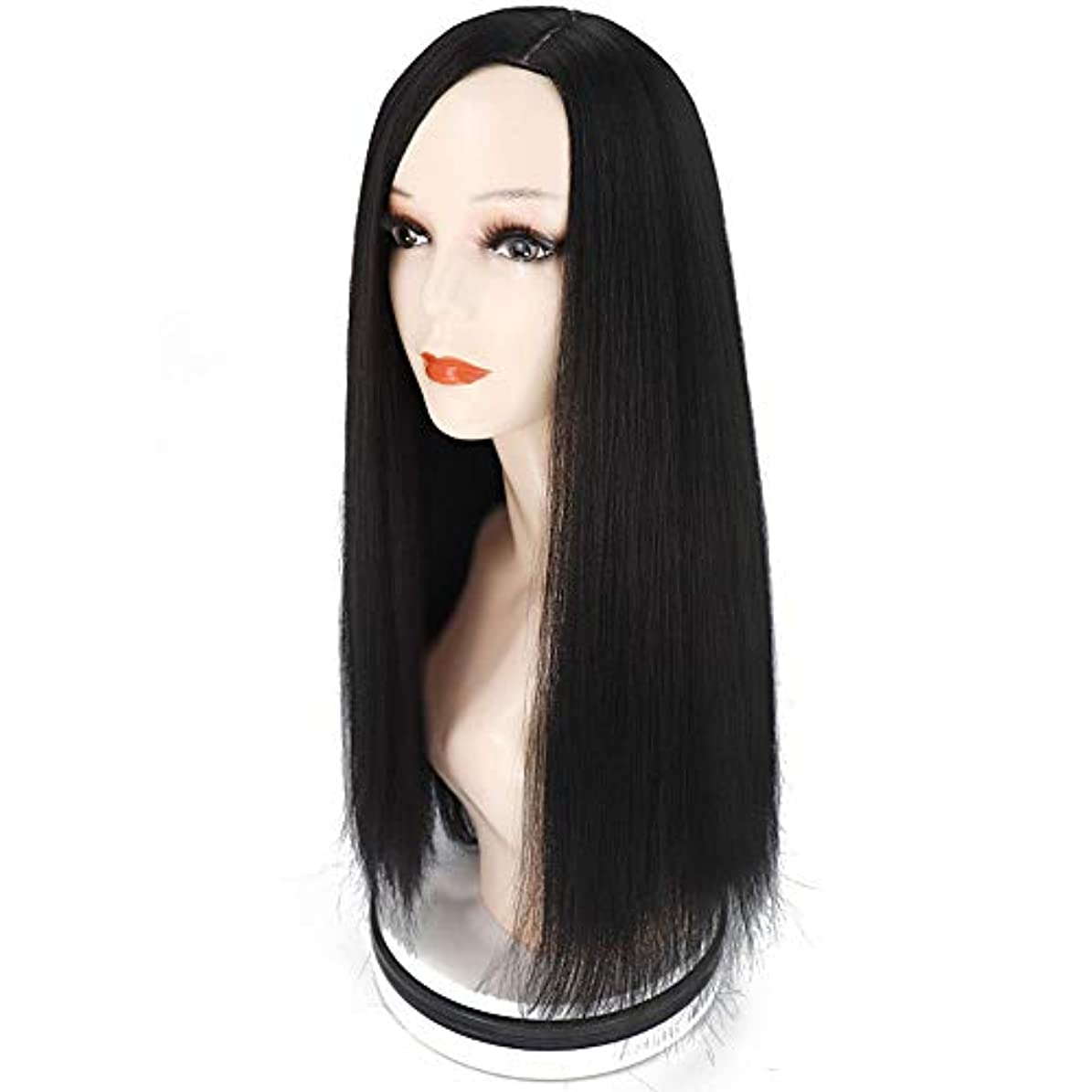 動的解読する突っ込むヘアエクステンションストレート人工毛ウィッグロングウィッグ26
