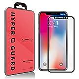 [HYPER GUARD]【30days プレミアム保障】 iPhoneX / iPhone10 専用 全面保護 柔らか シリコン ソフトフレーム フルカバー 日本製 旭硝子 強化ガラスフィルム 極薄 3D曲面 0.33mm 3dタッチ 硬度9H ラウンドエッジ ガラスフィルム iPhone X iPhone 10 アイフォンX アイフォン10 iphone-12-blkvc