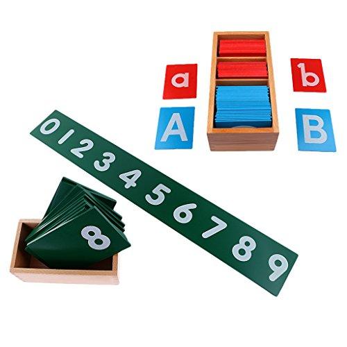 Homyl 木製 モンテッソーリ 砂紙 アルファベット ボード +  0-9 数字のパズル 子供 おもちゃ 贈り物