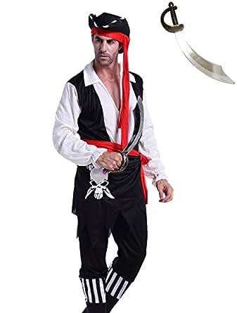 Madrugada 海賊 コスプレ 【アンティーク風海賊刀付き】 コスチューム 5点セット( 帽子、上着、ブーツ一体型ズボン、腰布、海賊刀 ) メンズ フリーサイズ S427