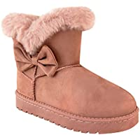 Girls Kids Childrens Flat Winter UGG Faux Fur Ankle Boots Warm Snow Thick Sole