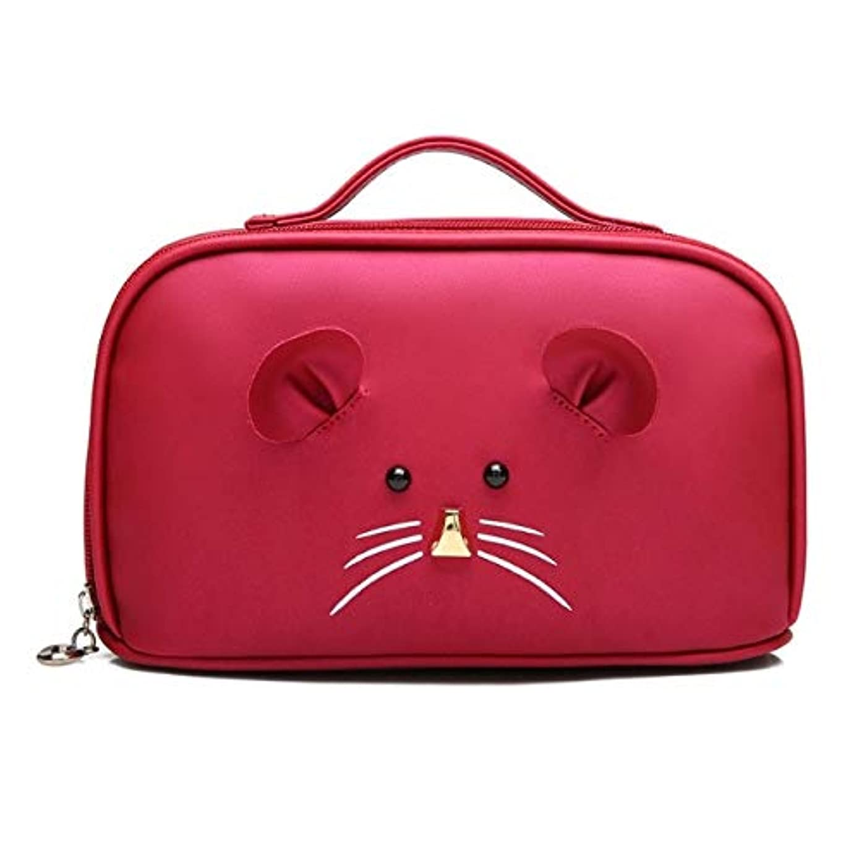 謎体系的に大声で化粧箱、大容量漫画マウス化粧品ケース、ポータブル旅行化粧品ケース、美容ネイルジュエリー収納ボックス (Color : Red)