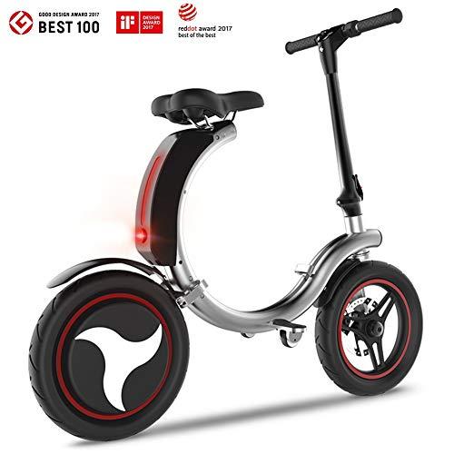 折りたたみ式電動自転車、最高速度20mphの450WミニEバイク、安全のためのヘッドライトとデュアルディスクブレーキ付きの軽量電動自転車スクーター (Color : Silver)