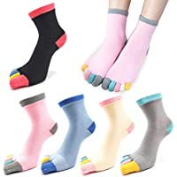 5 Pairs Womens Five Finger Toe Socks for Women Girls Cotton, Ladies Casual Low Cut Ankle Socks Soft & Breathable Size 5-9