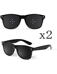 ピンホールメガネ、視力矯正メガネ網状視力保護メガネ耐疲労性メガネ近視の防止メガネの改善 (Color : 黒)