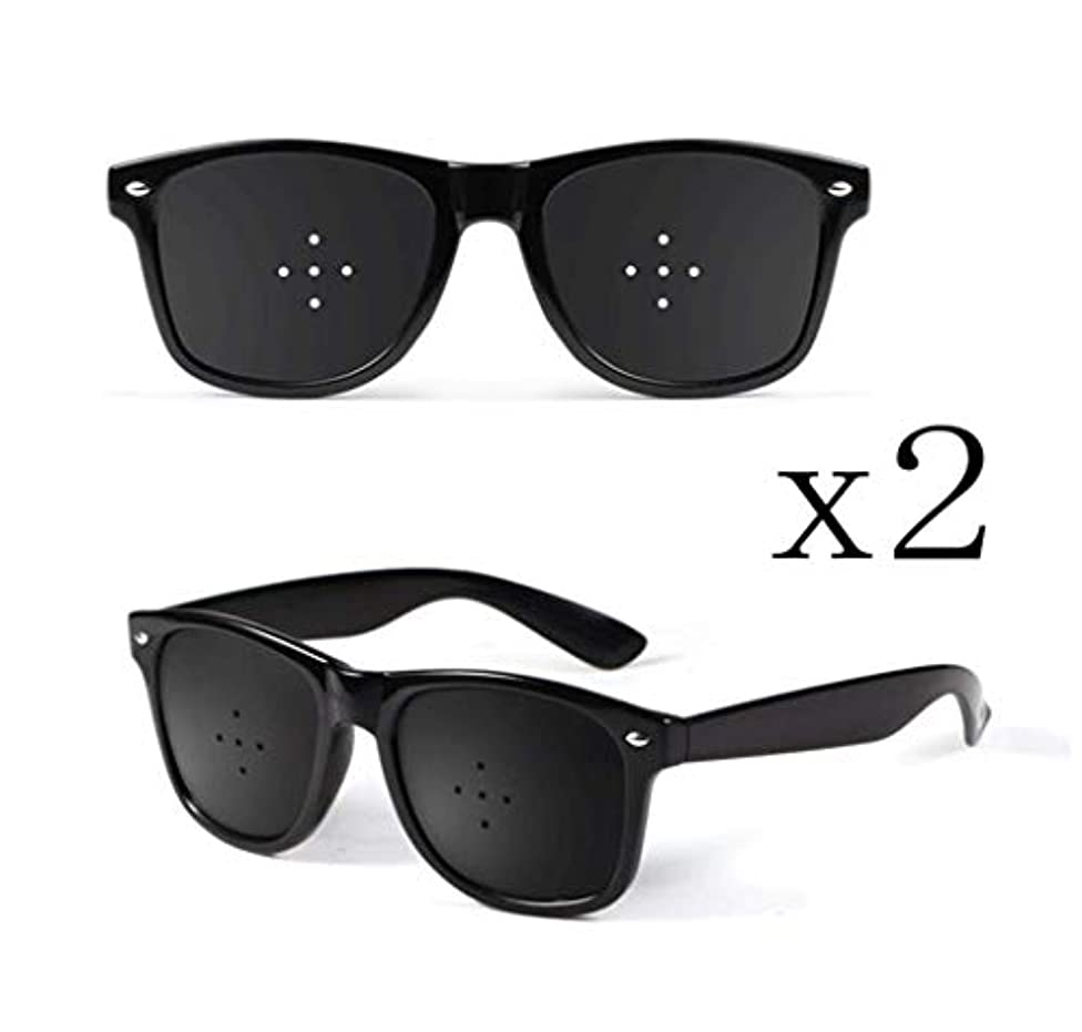 応援する衣装ちらつきピンホールメガネ、視力矯正メガネ網状視力保護メガネ耐疲労性メガネ近視の防止メガネの改善 (Color : 黒)
