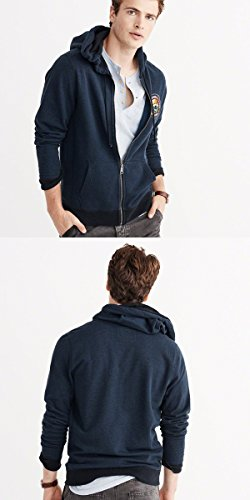 Abercrombie & Fitch アバクロ ジップアップパーカー Graphic Full-Zip Hoodie NAVY 122-232-0722-200 (M) [並行輸入品]
