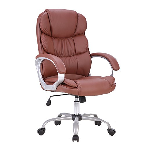 Myka's(ミカッズ) オフィスチェア パソコンチェア デスクチェア エグゼクティブチェア 椅子 ランバーサポート 肘付き プレジデントチェア 事務所用 レザー ハイバックチェア おしゃれ 疲れにくい (3色選べ)