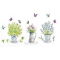 Takarafune ウォールステッカー 花 ラベンダー 壁紙シール ガーデン 剥がせる 壁紙 部屋飾り ウォールステッカー 防水 おしゃれ