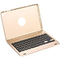 iPad mini1/2/3 Bluetooth キーボードケース 一体型ワイヤレスキーボードケース オートスリープ &スタンド機能あり八色選択可 (ゴールド)