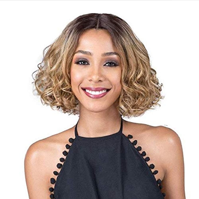 リマダンプ刃WASAIO 女性の短い巻き毛ボブスタイルブロンドダークルーツヘアウィッグ (色 : Blonde)