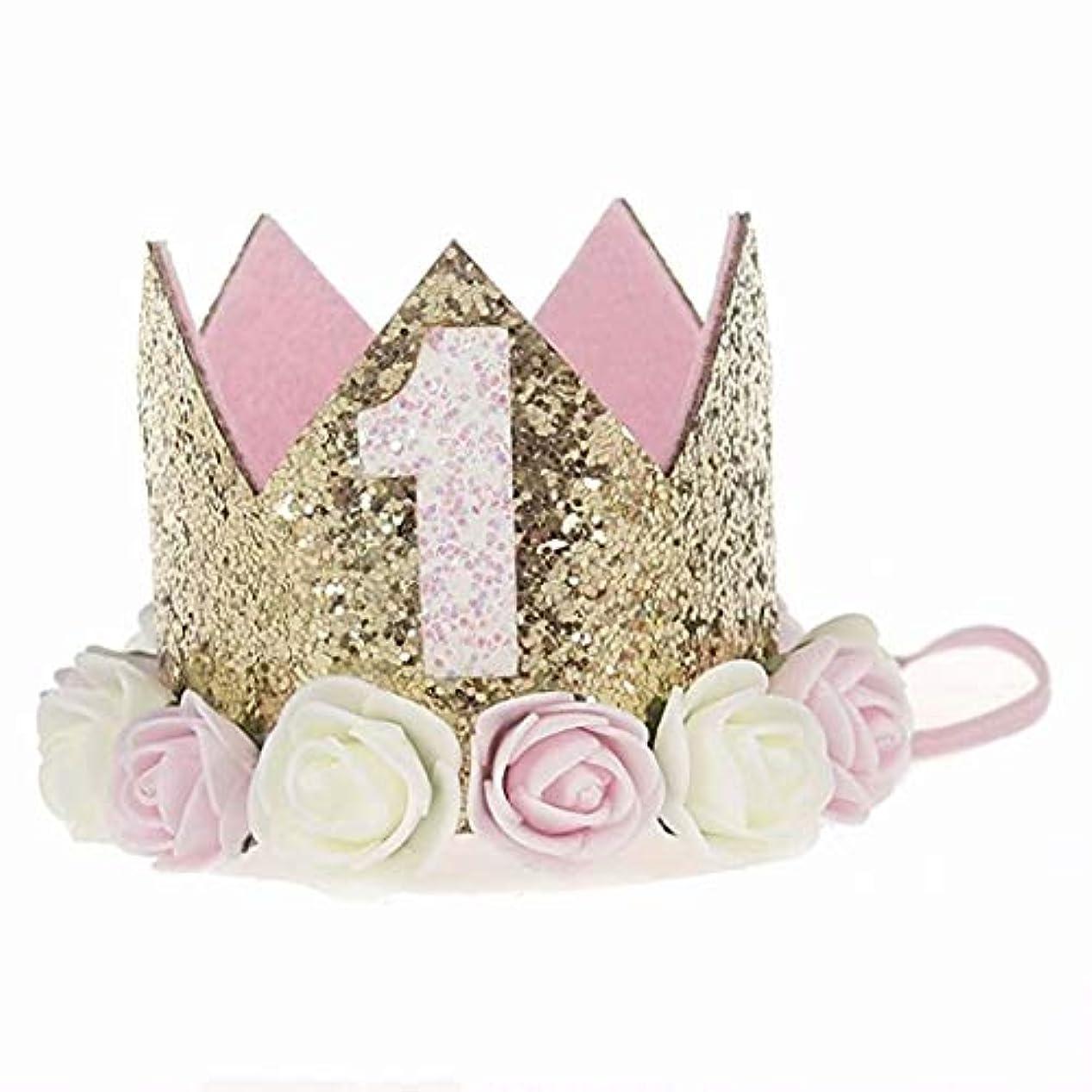 ラテン寄付する必要がある七里の香 誕生日クラウン ベビーローズフラワー デジタルクラウンヘッドバンド 誕生日ヘアアクセサリー 子供のための
