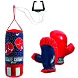 Franklin Sports Future Champs Kids' Mini Boxing Set – Includes Kids' Boxing Gloves – Punching Bag & Door Jam Bracket with Rope for Adjustable Punching Bag