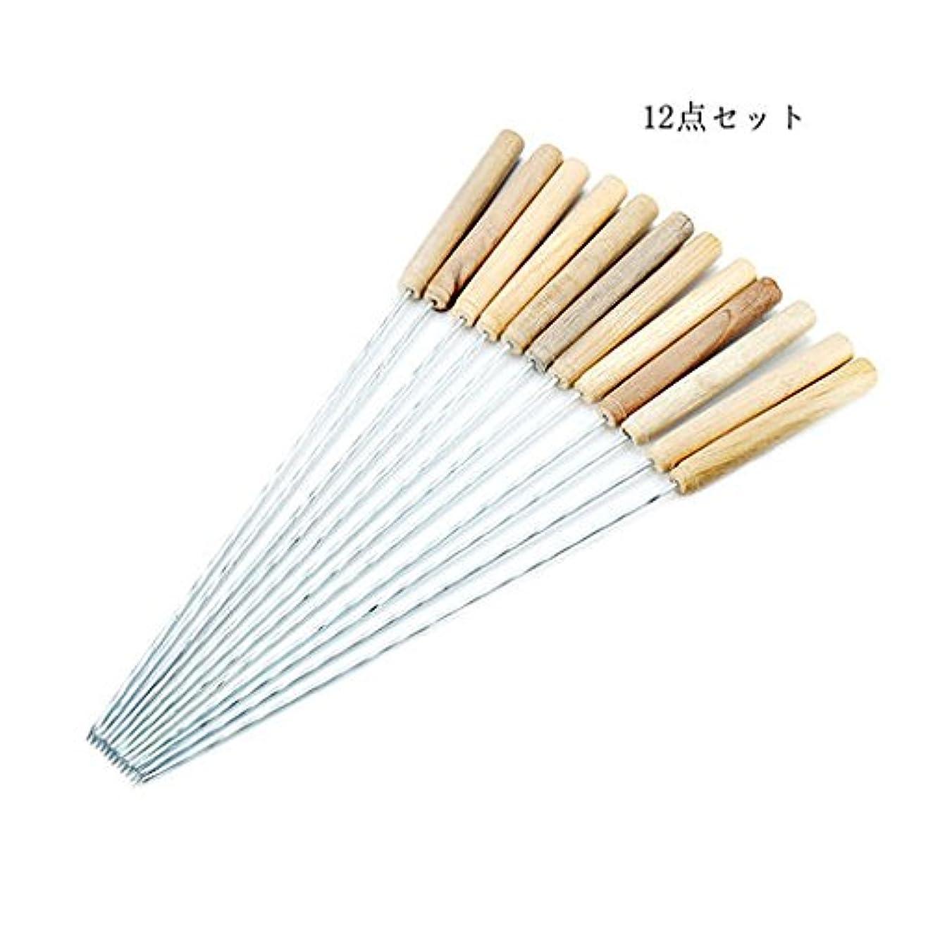 熟すに負けるレンチSix-Bullotime BBQ串 木製のハンドル ステンレス鋼の金属の串 バーベキュー用 焼肉 調理器 具焼き鳥 ツイスト滑り止め 12点セット