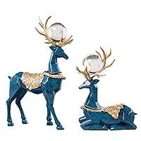 QY-当社のエレガントなハンドメイド鹿の装飾2セット高級スタイル鹿ホーム装飾樹脂鹿像クリスマスオフィステーブルトップホームデコレーションと美しいガラスボールレトロブルーカラー ブルー DEER-LAN