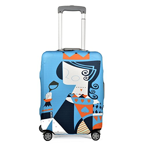 クロース(Kroeus)スーツケースカバー 伸縮素材 擦り傷 汚れ 厚め 防塵カバー 耐久性 ラゲッジカバー おしゃれ 紛失防止 保護カバー キャリーバッグカバー 着脱簡単 撥水 目立つ ブルー/クイーン L