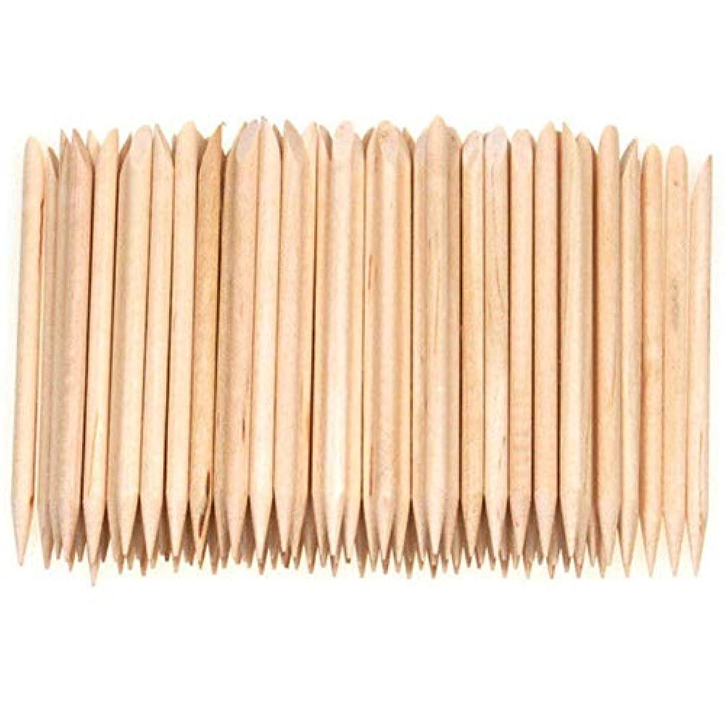 無意味カフェテリア孤独Semoic 100個ネイルアートデザイン木製の棒キューティクルプッシャーリムーバーマニキュアケア