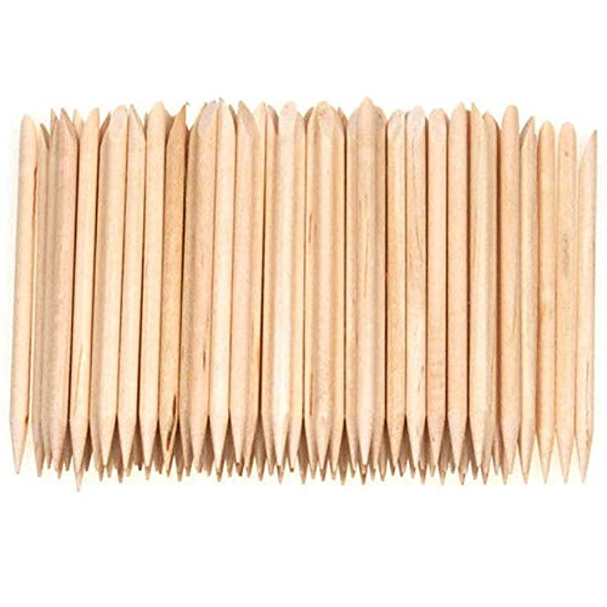 SODIAL 100個ネイルアートデザイン木製の棒キューティクルプッシャーリムーバーマニキュアケア