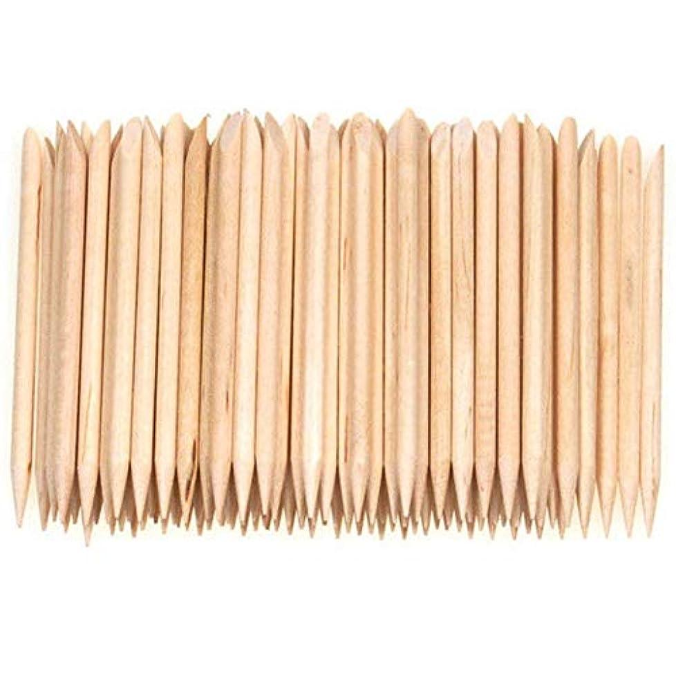 びん白い法医学SODIAL 100個ネイルアートデザイン木製の棒キューティクルプッシャーリムーバーマニキュアケア