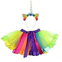 Flyme Skirt Rainbow Bubble Skirt Unicorn Headband for Party Performance Decoration