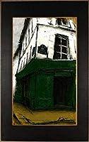 中野克彦 「街角の緑の本屋」 パリ 風景画 絵画 フランス 油絵 油彩画 額付き
