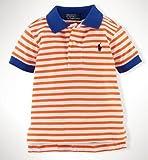 Ralph Lauren(ラルフ ローレン) ボーダー  コットン ポロシャツ 半袖(水色・オレンジ色・紺色・緑色)【月齢:1歳-2歳】(並行輸入品) (12M(1歳), オレンジ色)