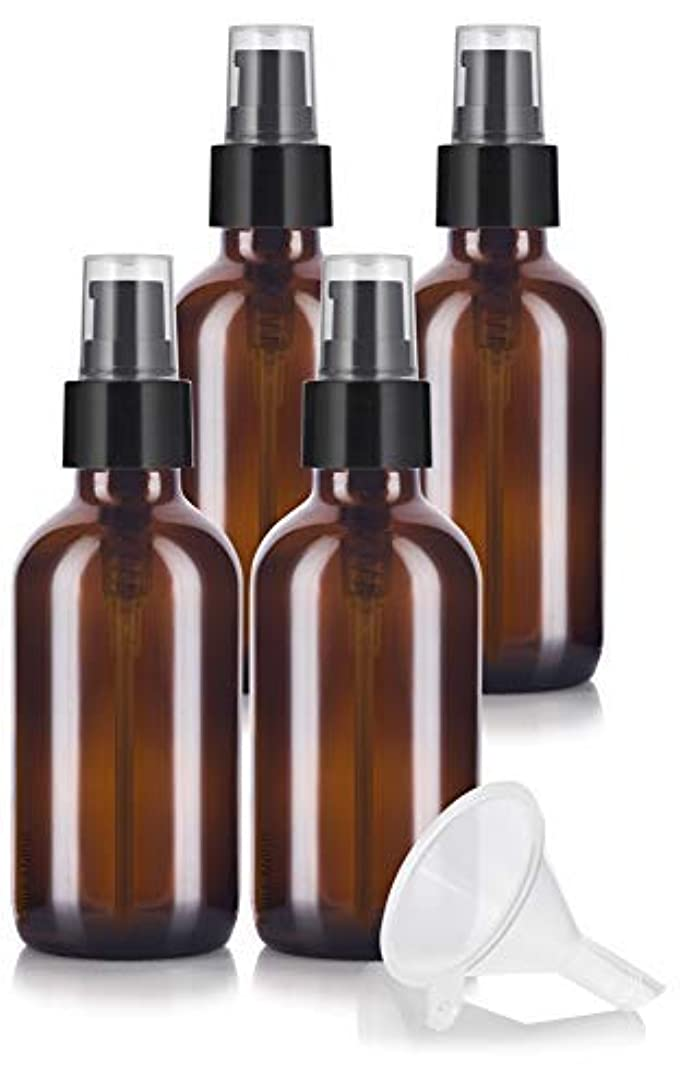 4 oz Amber Glass Boston Round Treatment Pump Bottle (4 pack) + Funnel and Labels for essential oils, aromatherapy...