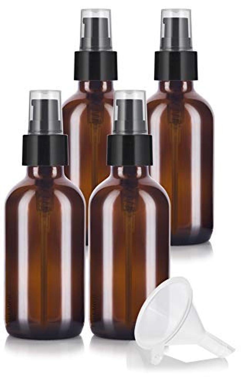応用論争刺繍4 oz Amber Glass Boston Round Treatment Pump Bottle (4 pack) + Funnel and Labels for essential oils, aromatherapy...