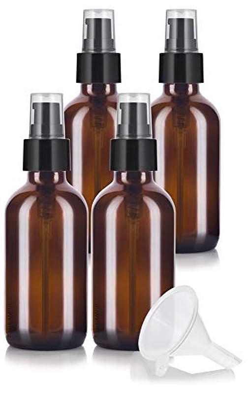 累計主張する枯渇4 oz Amber Glass Boston Round Treatment Pump Bottle (4 pack) + Funnel and Labels for essential oils, aromatherapy...