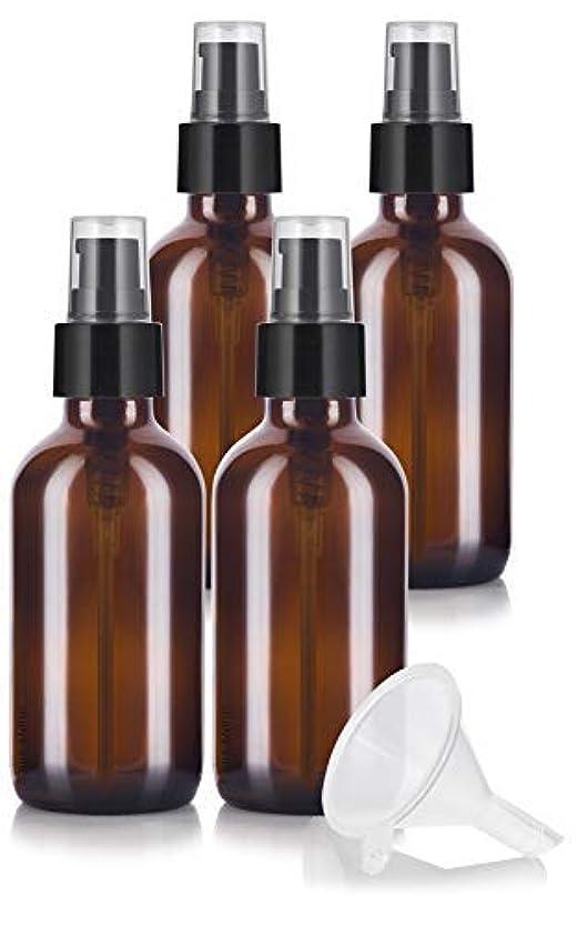 スナッチ脅かす強います4 oz Amber Glass Boston Round Treatment Pump Bottle (4 pack) + Funnel and Labels for essential oils, aromatherapy...