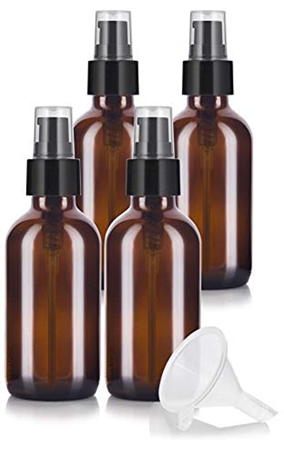 コピー伴うコード4 oz Amber Glass Boston Round Treatment Pump Bottle (4 pack) + Funnel and Labels for essential oils, aromatherapy...