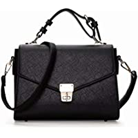 JINIU Women Cross-body Bags Girls' PU Leather Pure Color trendy Top-handle Bag With Metal Buckle