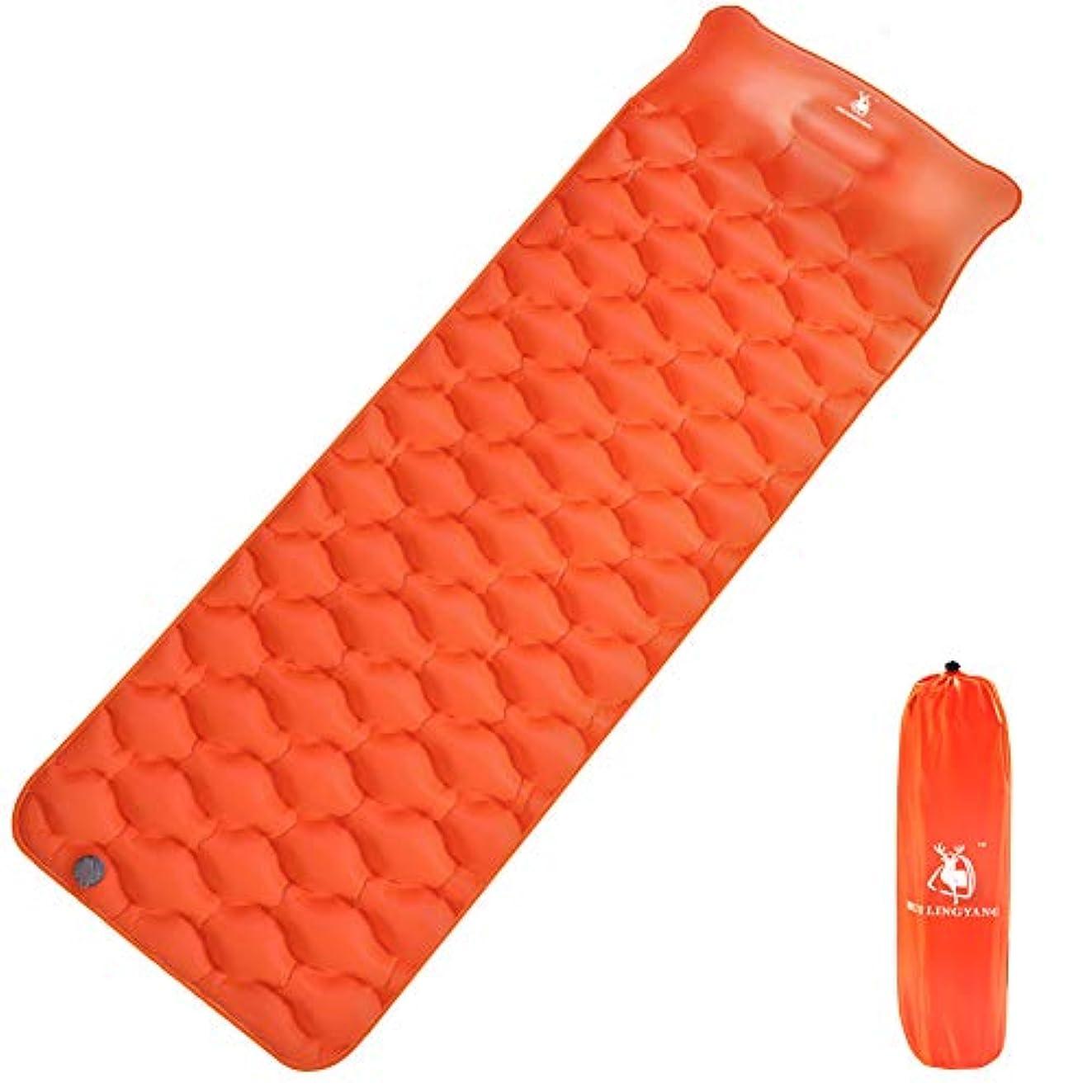 コジオスコ乱用メトロポリタンエアーマット キャンプマット 枕付き 超軽量型 耐水加工 コンパクト 厚さ6.5cm 空気入れポーチ付き(オレンジ)