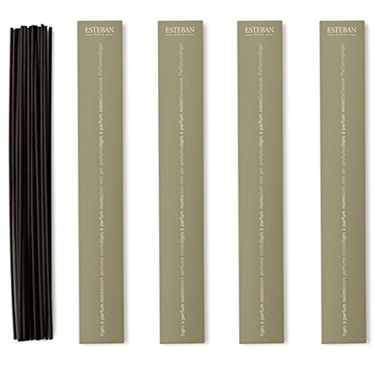 検出可能ウェイトレス瞑想的エステバン 黒ラタンスティック リフィル18本入 4個セット