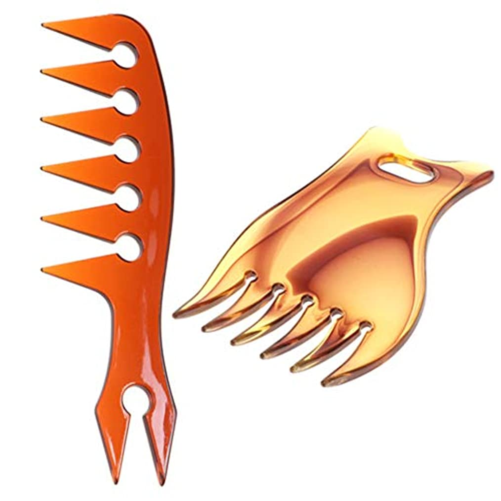 細いロゴレクリエーションオイリーヘアコーム プラスチック 広い歯 ヘアスタイリング マッサージコーム もつれ防ぐ