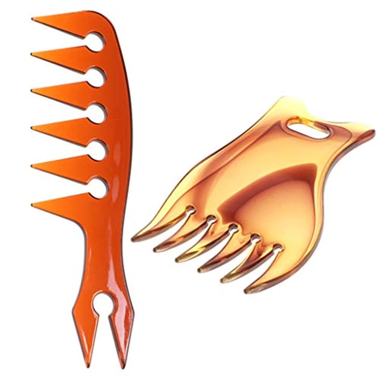 信号歪めるバウンスオイリーヘアコーム プラスチック 広い歯 ヘアスタイリング マッサージコーム もつれ防ぐ