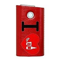 glo グロー グロウ 専用 レザーケース レザーカバー タバコ ケース カバー 合皮 ハードケース カバー 収納 デザイン 革 皮 RED レッド ユニーク 文字 英語 ハート 002995