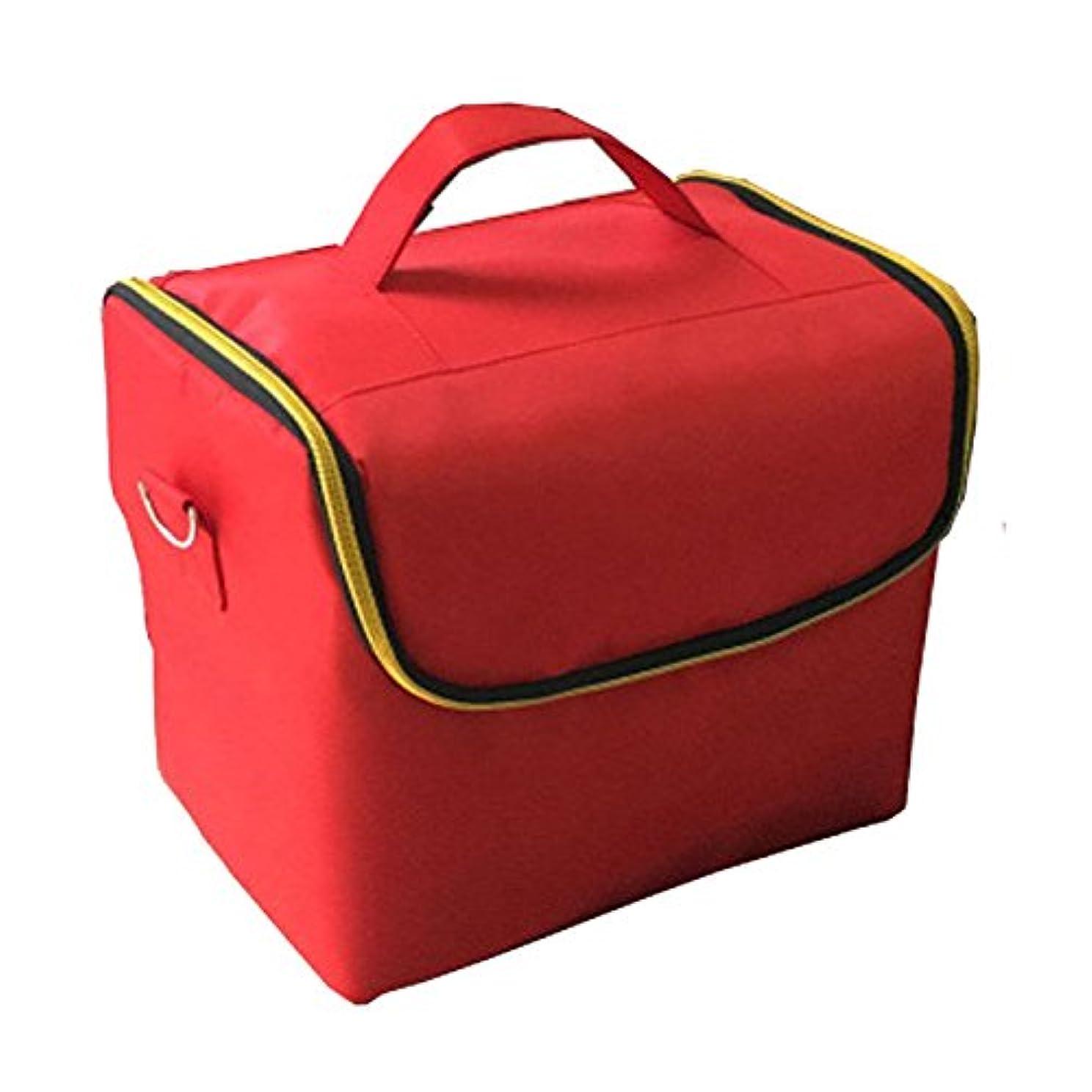 破産マインドフルジャニス「XINXIKEJI」メイクボックス コスメボックス ネイルボックス 2段 大容量 機内持ち込み可 洗える 肩掛け 化粧ボックス スプロも納得 収納力抜群 かわいい 祝日プレゼント 取っ手付 コスメBOXレッド