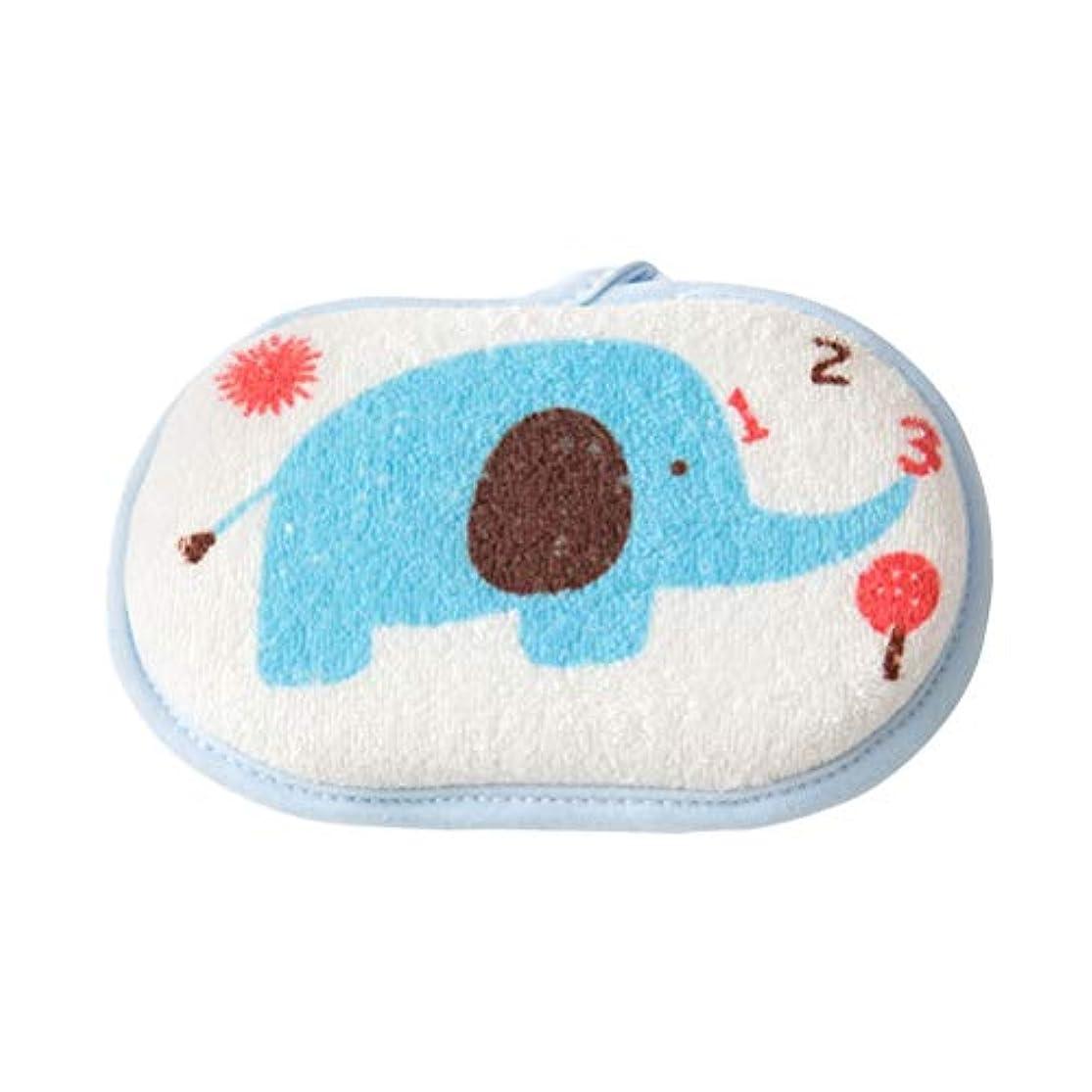 差し引く郡神のTOPBATHY ベビーボディバススポンジ幼児用シャワーバススポンジコットンバスフォームスポンジブラシ(象風呂スポンジブルー)