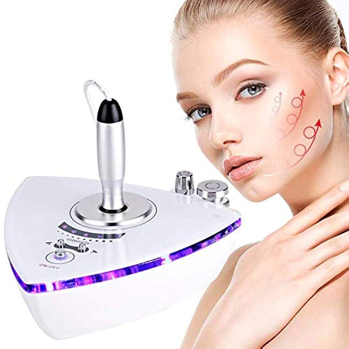 うぬぼれ二度わなポータブルRF無線周波数フェイシャル?マシン、ホーム用肌の若返りしわ除去の肌のための二つのプローブとしわフェイスピーリングマシンを持ち上げるためのアンチエイジングスキンケア美容機器を引き締め