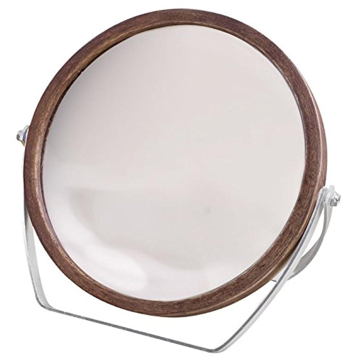 スカート柔和略すウッドフレーム 2WAY 5倍拡大鏡付 両面 卓上ミラー (ロースタンドタイプ) ブラウン YWM-1