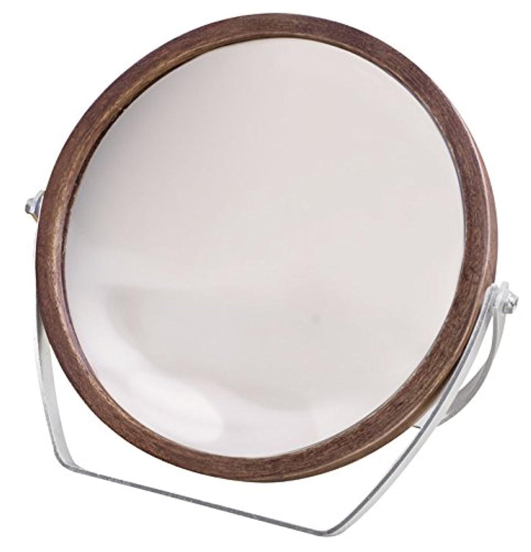 商業の家具改革ウッドフレーム 2WAY 5倍拡大鏡付 両面 卓上ミラー (ロースタンドタイプ) ブラウン YWM-1